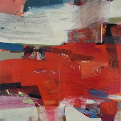 'Axial' by Alice Sheridan red abstract landscape painting original painting by emerging British artist, modern abstract