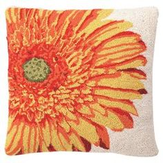 """Hand-hooked wool and cotton pillow with a floral motif.  Product: PillowConstruction Material: Wool and cotton cover and polyester fillColor: MultiFeatures:  Hand-hookedInsert included Dimensions: 18"""" x 18""""Cleaning and Care: Spot clean"""
