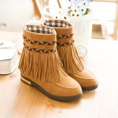 winter boots,Bohemian Tassel Mid Calf Boots for Women