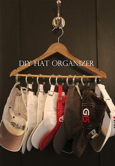 diy hat organizer, gonna have to share this with my dad.