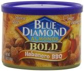 Blue Diamond Almonds BOLD  Habanero BBQ, 6-Ounce (Pack of 6) Indulge your inner Texan with almonds coated in bronco-busting barbecue seasoning, laced with delicious habanero heat. For those who like to add a little challenge to getting their handful of almonds a day, our Habanero BBQ won't disappoint. Product Features Pack of six, 6-Ounce (Total of 36-Ounces) Habanero BBQ Rich in vitamin E and protein, Contains 100% natural ingredients. Buy  Blue Diamond Almonds, taste review, Yummy Good!