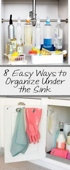 Under the sink, under the sink organization, kitchen organization, popular pin, DIY kitchen organization, cleaning product storage, how to store cleaning products.