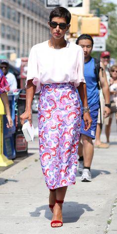 #NYFW Spring 2015 Street Style   Printed silk skirt Via IMAXTREE