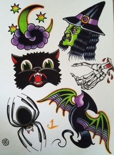 Halloween Tattoo Flash; LOVE THE CAT!