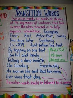 """Transition Words, great environmental print! This is a great tool and reminder for students to include transitions words into their writing. I would post something like this in my classroom. As an alternative, you can make the poster as a class, i.e. have students recommend the transitions words; could be incorporated into the first """"transition word lesson""""."""