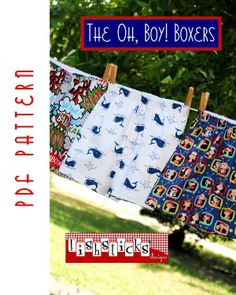 Oh Boy Boxers Downloadable Sewing Pattern by Fishsticks Designs