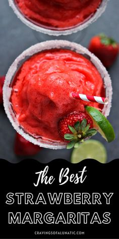 Strawberry Margaritas are incredibly easy to make at home. This recipe includes a boozy version, as well as a virgin version. Whip one up today! #margarita #virginmargarita #drinks #cocktail #mocktail #party Fun Easy Recipes, Popular Recipes, Quick Easy Meals, Sweet Recipes, Healthy Strawberry Recipes, Fruit Recipes, Mexican Food Recipes, Drink Recipes, Best Comfort Food