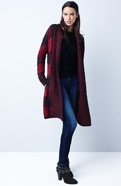 Lucky Brand Long Cardigan & KUT from the Kloth Skinny Jeans  available at #Nordstrom