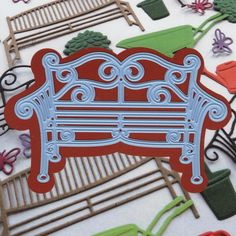 Marianne Design - Creatables Die - Bench Metal-A beautiful park metal bench die that will enhance the park like setting of a card or scrapbook page. Victorian Benches, Wood Crafts, Paper Crafts, Stock Flower, Frantic Stamper, Beautiful Park, Marianne Design, Heartfelt Creations, Wishing Well