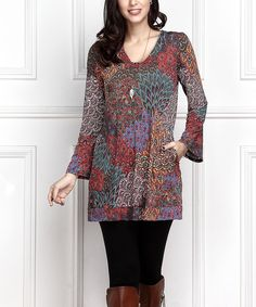 Red Peacock Square Neck Tunic - Plus Too