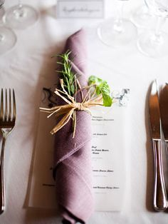 napkins and cute menu simple and pretty