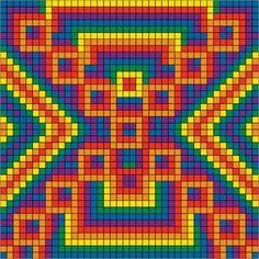 Mochila pattern Bargello Patterns, Tapestry Crochet Patterns, Bead Loom Patterns, Crochet Stitches Patterns, Cross Stitch Patterns, Graph Paper Drawings, Graph Paper Art, Cross Stitching, Cross Stitch Embroidery