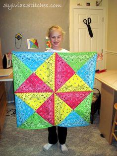 Sylvia& Stitches: My Crafty Teen& Bandana Quilt Bandana Quilt, Bandana Blanket, Rag Quilt, Quilt Blocks, Quilt Top, Bandana Crafts, Bandana Ideas, Quilt Patterns, Sewing Patterns