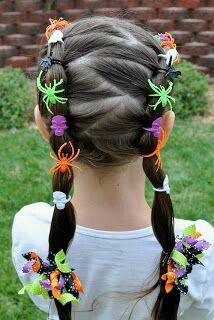 Girls hairstyle for Haloween...i like the bug rings in her hair. but maybe not so many!