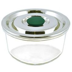 An elegant square glass container with a stainless steel lid and