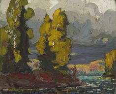 tom thomson Poplars by the Lake, 1916 [oil on board; 21.5 x 26.8 cm]
