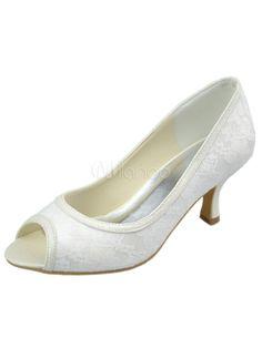 Champagnes chaussures de mariée en satin couvert de dentelle et bout ouvert 53.26eur