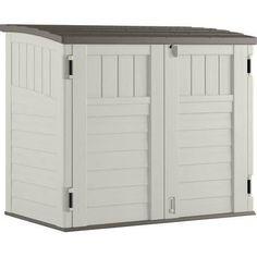 Utility Shed Storage Box Deck Garden Outdoor Cabinet Backyard Lawn Garage Yard  sc 1 st  Pinterest & Keter 455L 145x69.7x60.3cm Brightwood Outdoor Storage Box Possible ...