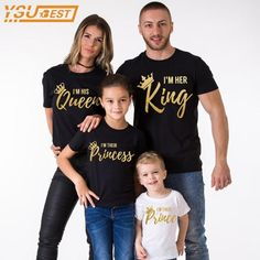 Family Matching Outfits Father Mother Daughter Son Clothes Cotton T-shirt King Queen Fashion Family Look