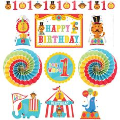 Amazon.com: Fisher Price Circus 1st Birthday Room Decorating Kit Party Supply: Toys & Games