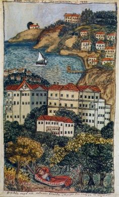 In this hand hooked rug Claire Murray depicts the historic Cape Cod village of Chatham with lighthouses and sailboats and the unique shops and architecture. Artist Painting, Artist Art, Greek Paintings, Art Paintings, Greek Art, 10 Picture, Conceptual Art, Urban Art, Illustration Art