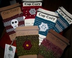 Protecting fingers and preventing waste with ALL the cup cozies! :) Make a great stocking stuffer.and are quick to create. Cup Cozies, Shawls And Wraps, Stocking Stuffers, Fingers, Christmas Stockings, Coasters, Cozy, Stitch, Create