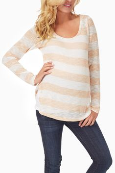Peach-White-Sparkle-Striped-Long-Sleeve-Maternity-Top #maternity #fashion