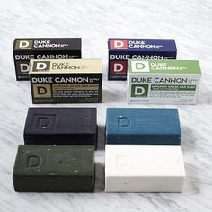 Duke Cannon Superior Grade Soaps: Duke Cannon's retro brick-shaped exfoliating bars come in brisk scents with uber-masculine names—such as Accomplishment, a blend of bergamot and black pepper, and Naval Supremacy, with a whiff of the sea.