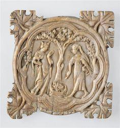 | Valve de boîte à miroir : scène galante | Images d'Art Medieval Art, Historical Costume, Casket, Religious Art, Belle Photo, Art And Architecture, Sculpture Art, Horns, Carving