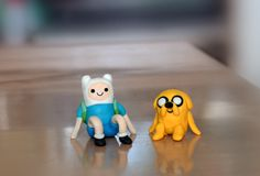 little clay adventure time figures of fin & jake :]