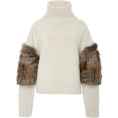 Sally LaPointe Cross Fox Fur Trimmed Turtleneck Sweater ($2,450) ❤ liked on Polyvore featuring tops, sweaters, fur sweater, pullover sweater, white fur sweater, white turtleneck and fox sweater
