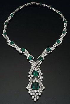 Emerald and Diamond Collar Necklace