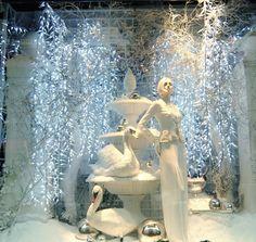 ", New York, ""Swan Lake is the most difficult thing to portray for a female ballet dancer"", pinned by Ton van der Veer Visual Merchandising Displays, Visual Display, Display Design, Store Design, Christmas Shop Displays, Winter Window Display, Noel Christmas, Christmas Windows, White Christmas"