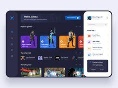 Game Streaming Platform by Panji Pamungkas for SLAB Design Studio on Dribbble Dashboard Mobile, Data Dashboard, Dashboard Interface, User Interface Design, Mobile Ui, Best Ui Design, Game Ui Design, Ui Ux Design, Dashboard Design