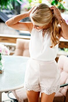 Olivia Rink in an LC Lauren Conrad for Kohl's Faux Suede Tank and Shorts