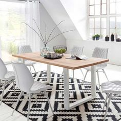 Table Palm BeachNaturel et blanc Peace Building, Dining Room, Dining Table, Paint Colors For Living Room, Design Thinking, Interior Design Living Room, Palm Beach, Kids Rugs, Furniture