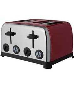 ColourMatch Stainless Steel 4 Slice Toaster - Poppy Red.