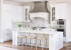 Two tone gray French kitchen hood