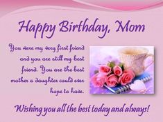 Cute And Sweet Birthday Wishes For Bestfriend Happy Mom From Daughter