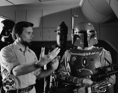 Darth Vader, Gary Kurtz, IG-88 and Boba Fett on the Star Destroyer bridge set.