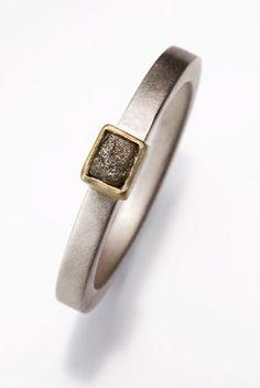Sterling Silver Raw Diamond Ring by JulietJewelry on Etsy