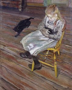 Christian Krohg (Norwegian painter, - The girl with the cats Skagen, Edvard Munch, Hans Thoma, Black Cat Art, Black Cats, Ludwig, Sleepy Cat, Cat People, Cat Sleeping