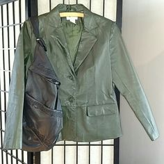 Pine green leather jacket Leather blazer in good used condition. Two front pockets and polyester lining throughout. Large black purse for sale in seperate listing Chadwicks Jackets & Coats Blazers
