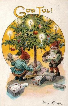 Vintage Christmas Post Card, elves putting gifts under there Christmas Tree.Merry Christmas everyone. Under The Christmas Tree Jenny Nystrom Norway Christmas, Norwegian Christmas, Danish Christmas, Old Christmas, Christmas Gnome, Vintage Christmas Cards, Scandinavian Christmas, Christmas Pictures, Christmas Greetings
