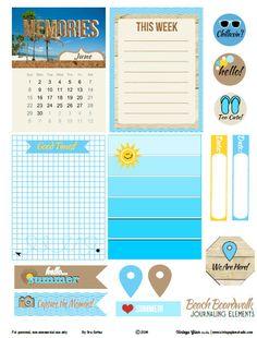 Beach Boardwalk Journaling Elements Free Printable Download from VintageGlamStudio