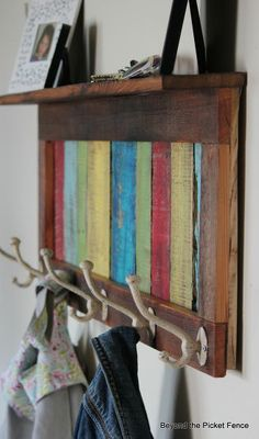 Reclaimed, Pallet Wood Coat Hook and Shelf