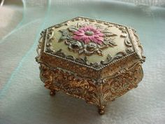 Vintage Footed Jewelry Trinket Box Ornate Gold tone Red Velvet Lining Worn Old