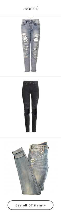"""Jeans :)"" by leilathunder ❤ liked on Polyvore featuring jeans, pants, bottoms, calças, trousers, bleach stone, bleached distressed jeans, ripped boyfriend jeans, ripped jeans and torn jeans"