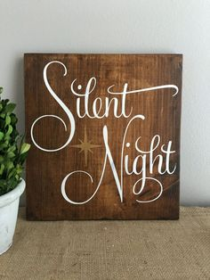 Decorating for Christmas is more unique when you add this beautiful rustic style Silent Night sign to your decor. Will look perfect on your mantle or hung on your wall! Sign measures approximately 12x11. Expertly hand cut and sanded to perfection. Made from high grade pine wood and stained with General Finishes Antique Walnut Gel Stain. The crisp lettering is finished with Heirloom Traditions Chalk Paint in French Vanilla. The gold on this piece is painted with a gold metallic paint. The…