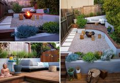 This modern landscaped backyard has a raised outdoor lounge deck, a wood burning firepit, succulents, bamboo and a vegetable garden. Large Backyard Landscaping, Small Backyard Design, Succulent Landscaping, Modern Landscaping, Patio Design, Landscaping Ideas, Courtyard Landscaping, Backyard Designs, Landscaping Software
